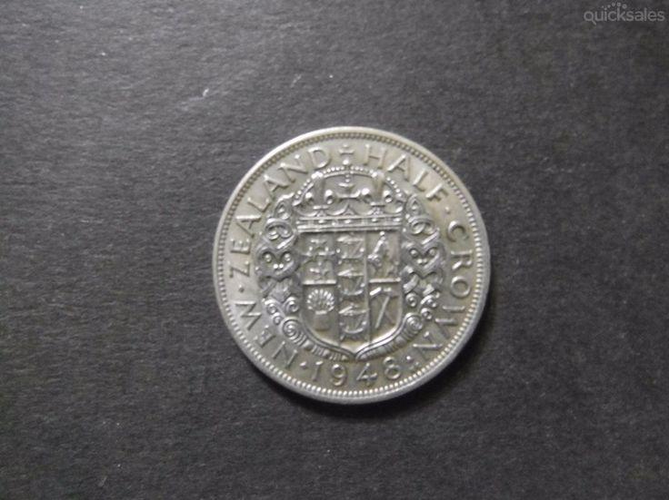 New Zealand Half Crown 1948, KGVI, good condition by jones101 - $35.00