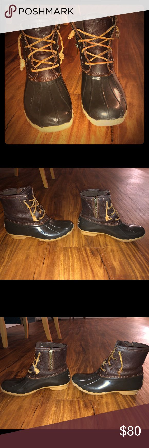 Sperry duck boots- women's size 7.5 Only worn twice, in great condition! Selling for $80. Size 7.5. Sperry Shoes Winter & Rain Boots