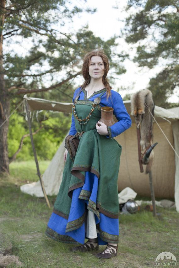 """Wikinger Kostüm Kleid und Schürze """"Ingrid der Hearthkeeper""""; Leinen Tunika; Leinen Schürze; Mittelalterliches Kostüm"""