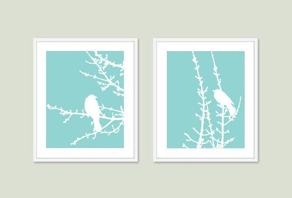 Spring Birds and Branches  Wall Art Print Set  Robins by AldariArt, $33.00