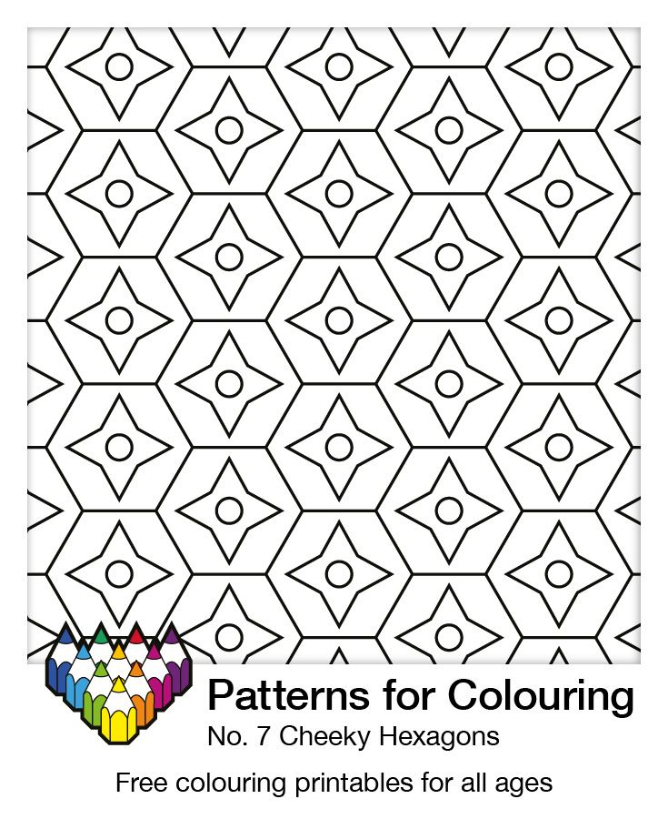 Cheeky Hexagons. Colouring page number 7. More than 200 free patterns to choose from.