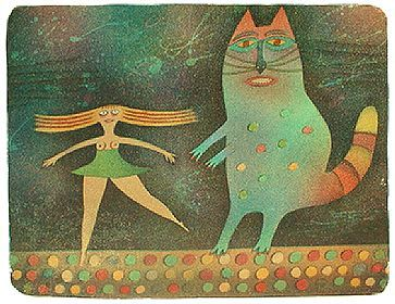 A CAT AND A DANCER - Adolf BORN Print - litography