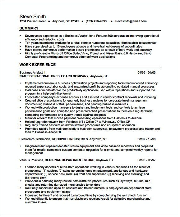 Entry Level Business Analyst Resume Business Analyst Resume Format 1  Entry Level Business Analyst