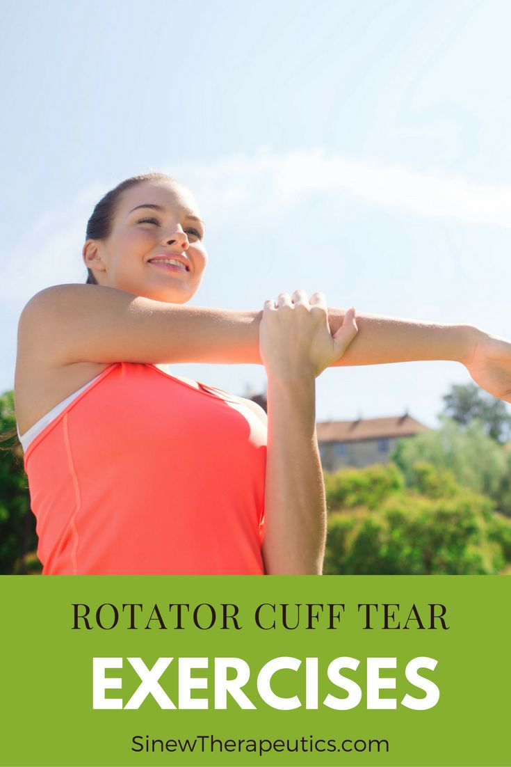 Stretching exercises to help shoulder flexibility and strength. Learn more about a Rotator Cuff Tear at SinewTherapeutics.com