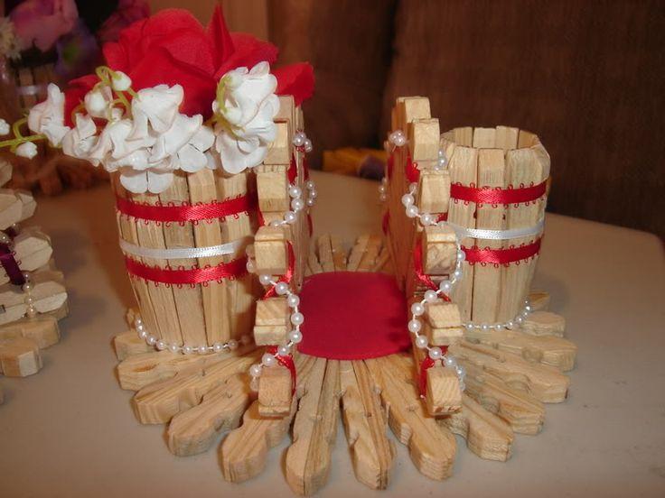 Canastas y servilleteros de pinches de ropa - Trabajos manuales de madera ...