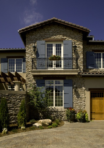 2008 Parade of Homes house - mediterranean - exterior - denver - Rick L Lawrence, AIA, NCARB: shutter color and balcony