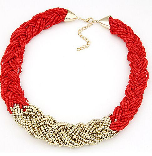 2015 New Fashion Necklace Charm Chain Statement Bib Necklace Twist Beads Necklaces Jewelry For Women