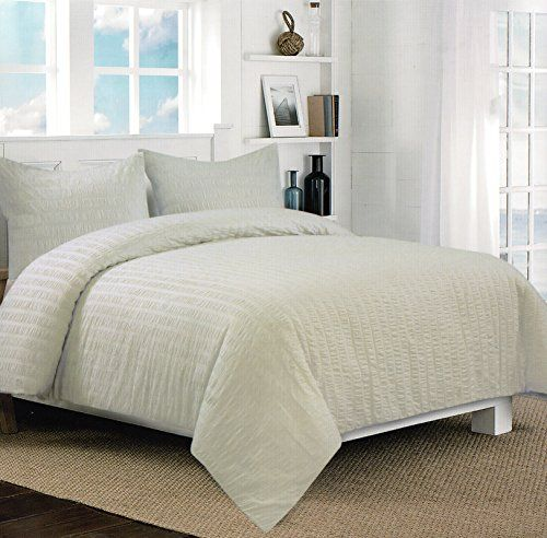 modern master bedroom with threshold seersucker duvet cover set | Nicole Miller Home 3pc Full Queen Seersucker Duvet Cover ...