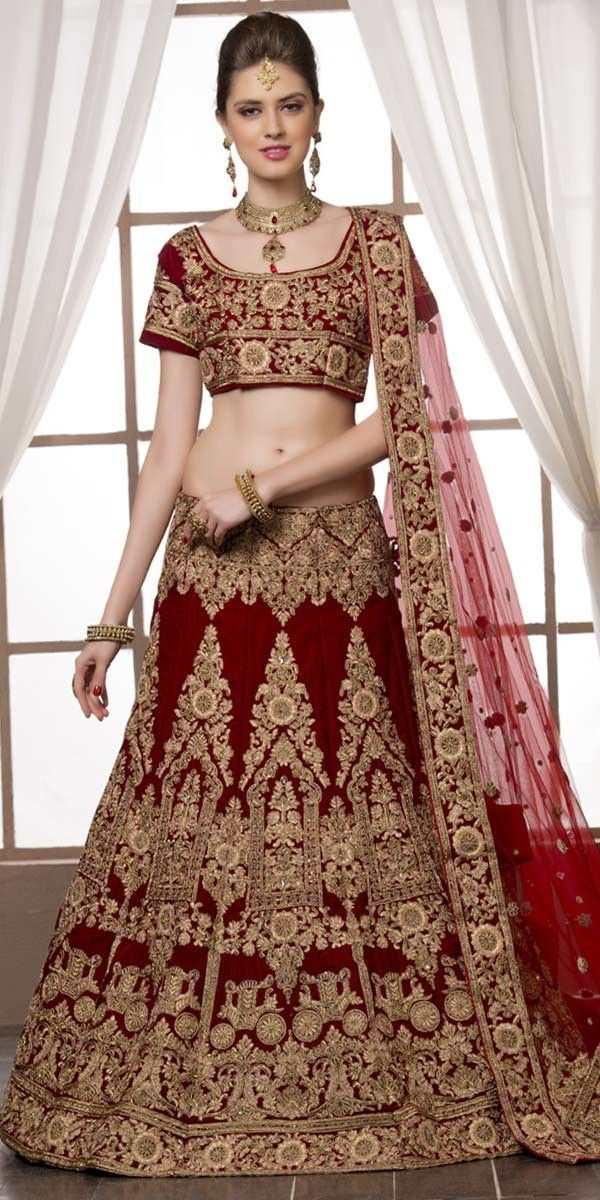 Graceful Maroon Velvet Lehenga Choli With Dupatta.