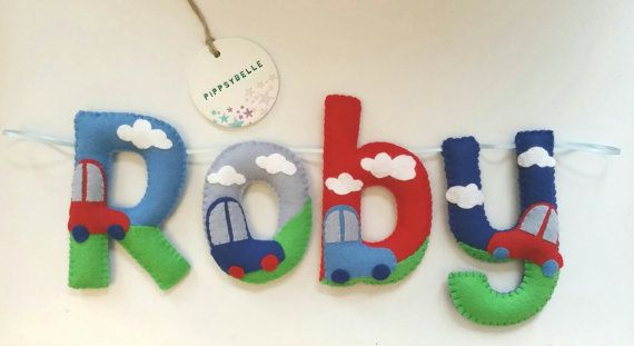 Cars name garland Boys felt name garland cars by Pippsybelle