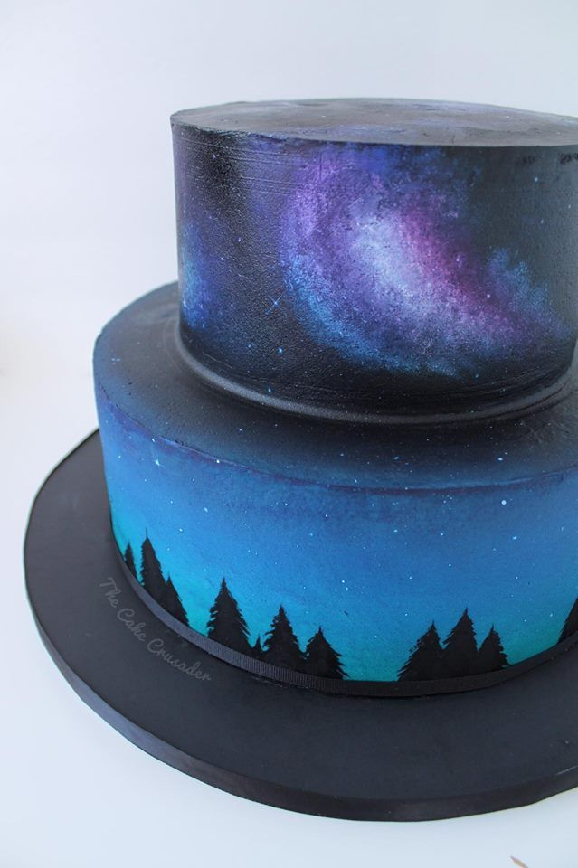 Two Tier Galaxy Chocolate Birthday Cake