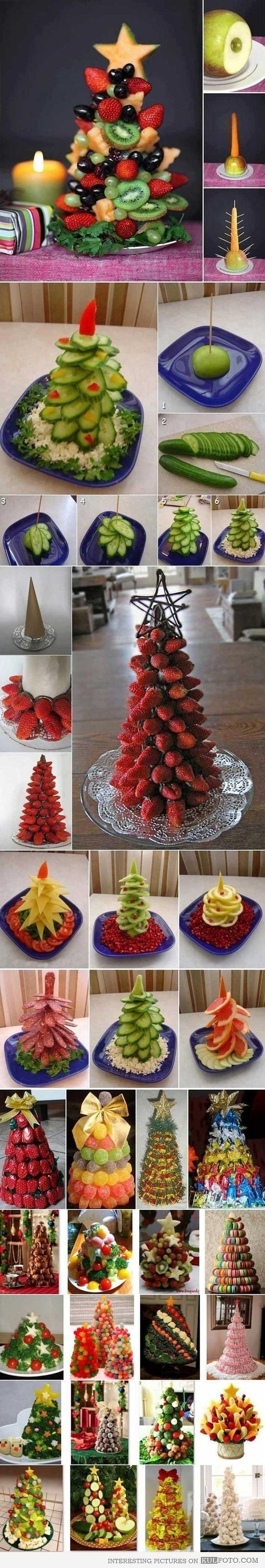 Fruit Christmas trees - Funny how-to guide with pictures for creating beautiful and cute Christmas trees from fruit and vegetables. * by freda