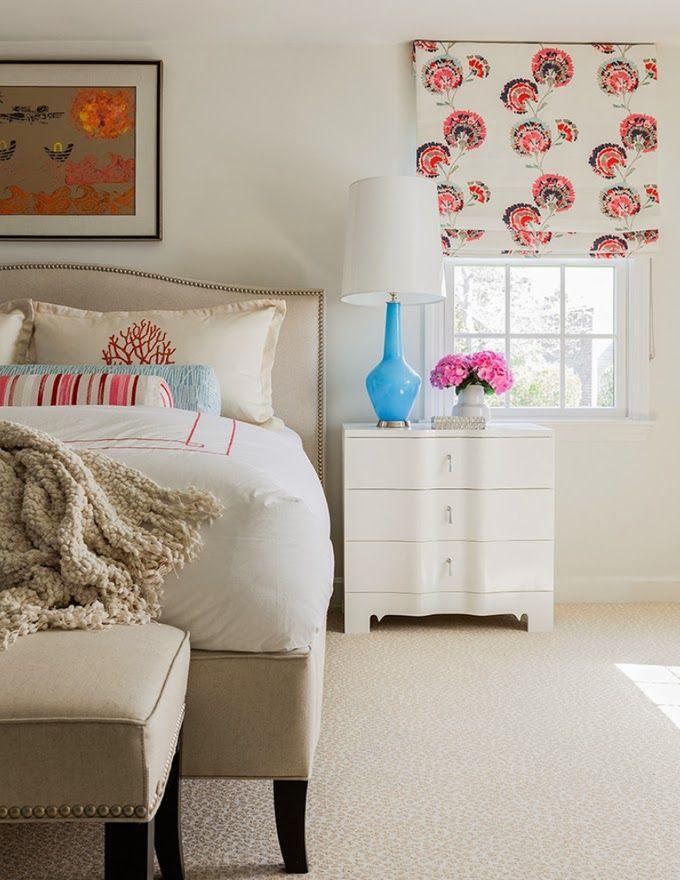 pretty natural bedroom from Katie Rosenfeld Interior Design -- love the roman shade
