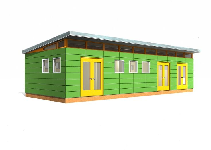 16 39 x 40 39 modern shed 640 sq ft prefab shed kit for Backyard office kit