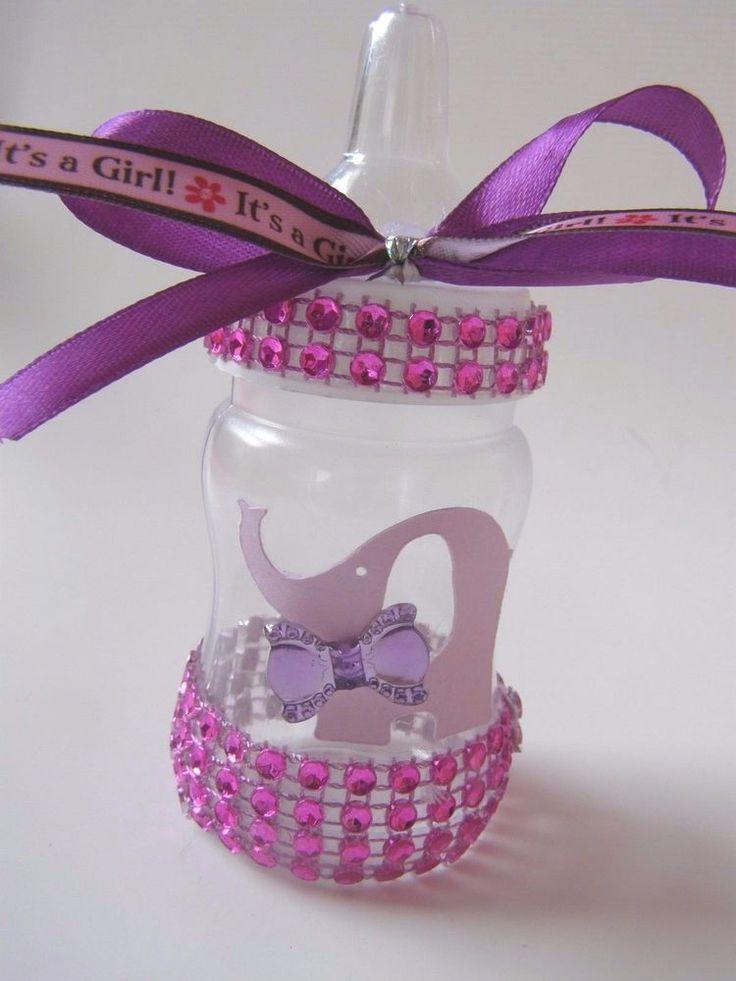 10 Lavender It's A Baby Girl Elephant Bling Baby Shower Bottle Favors Newborn #BabyShower