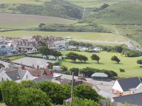 Woolacombe town. Woolacombe Bay Hotel is the big building in the top left corner
