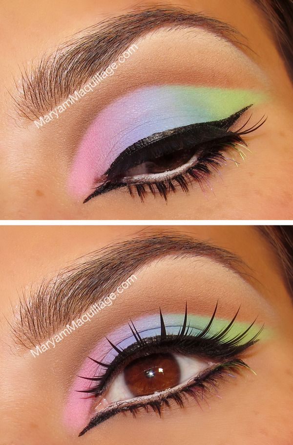 For details and how-to, visit my latest blog post: http://www.maryammaquillage.com/2012/10/cut-crease-pastel-rainbows.html
