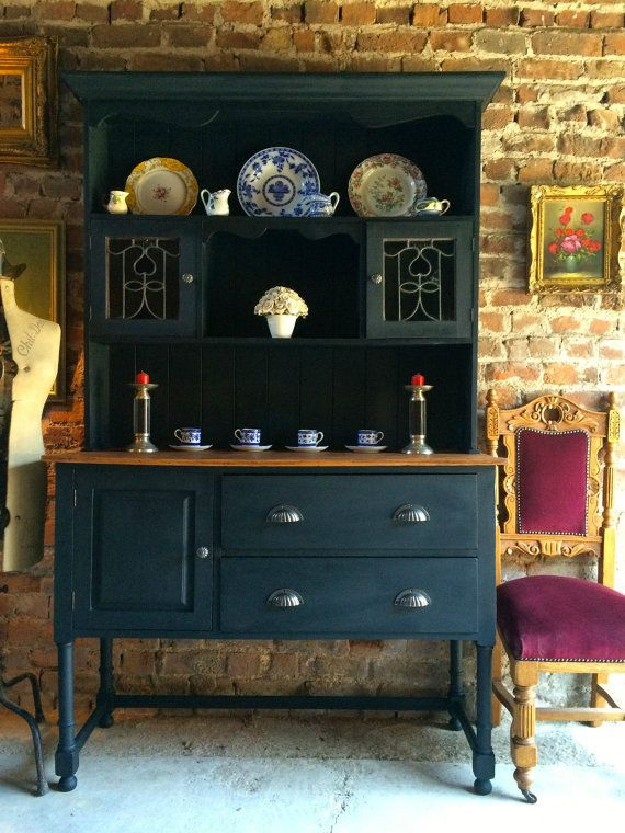 Antique Welsh Dresser Solid Oak Shabby Chic by SplendidTrading--the color!