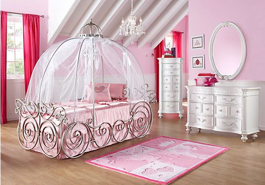 Natasza keeps asking for this bed...but how long will she really want a princess bed??? Need to ask store if canopy comes off for when she's older so its just an iron bed!!!  Shop for a Disney Princess 6 Pc Twin Carriage Bedroom at Rooms To Go Kids. Find  that will look great in your home and complement the rest of your furniture.
