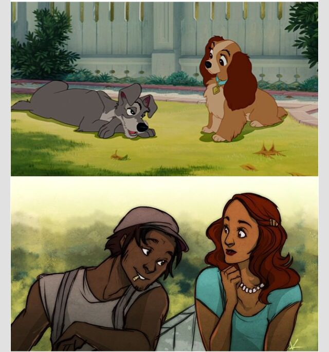 Lady and the Tramp as humans.