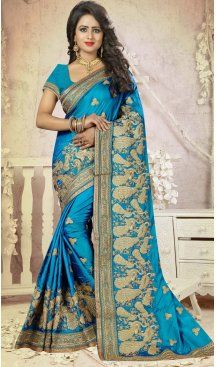 Sky Blue Color Silk Embroidery Party Saree | FH586486353 Sale up to 19% off end in 31 July Hurry Follow us @Heenastyle