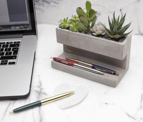 Kikkerland Large Concrete Desktop Planter & Pen Pencil Holder Office House…