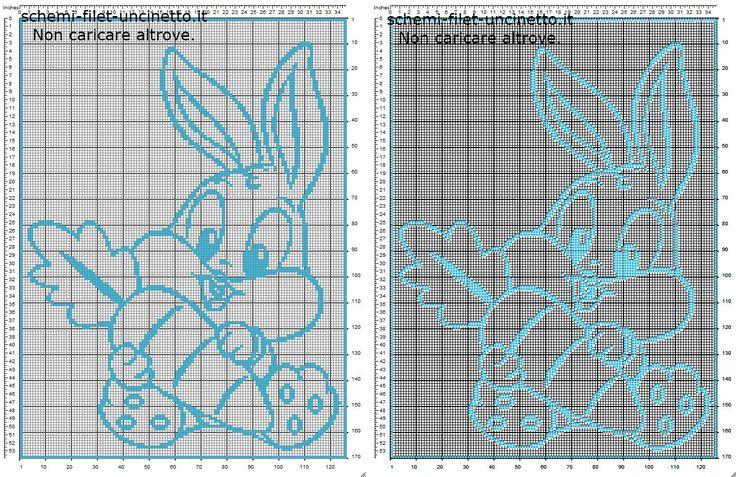 Copertina neonato filet uncinetto con baby Bugs Bunny con carota schema gratis Looney Tunes