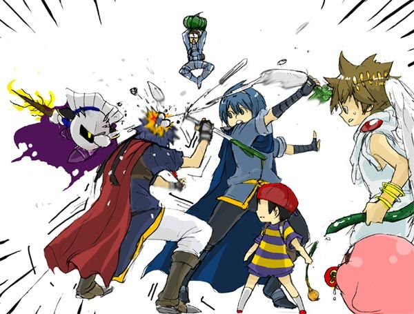 Fighting with vegetables... no idea what meta knight's sword is, though.
