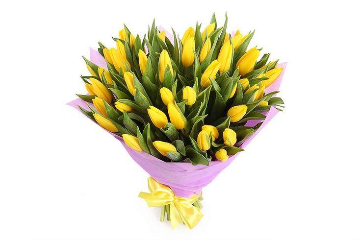 удивительный Букет 51 тюльпан, желтые  #Букеты #Хитыпродаж,Букет51тюльпан,желтые