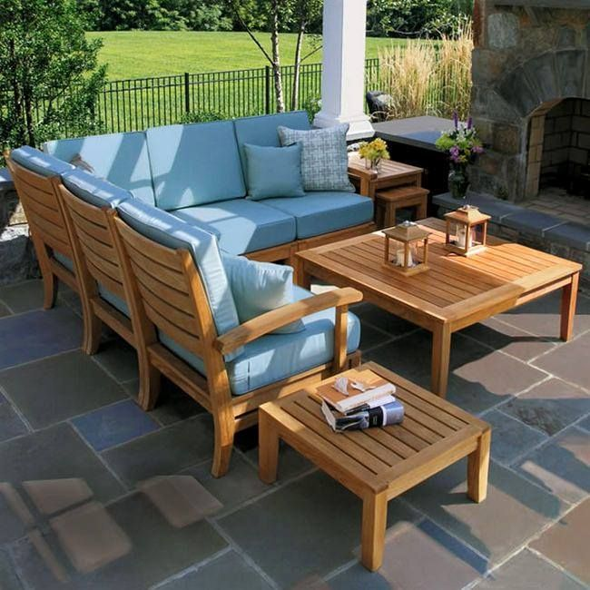 Teak Sectional Lounge Seating   Calypso Collection By Country Casual   Country  Casual