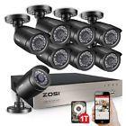 ZOSI 8CH 1080P Lite CCTV DVR 1500TVL 720P Outdoor Home Security Camera System 1T