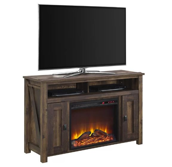 "48"" TV Stand Electric Fireplace Entertainment Media Center Rustic Flame Effect  #Cleveland #RusticCountry"