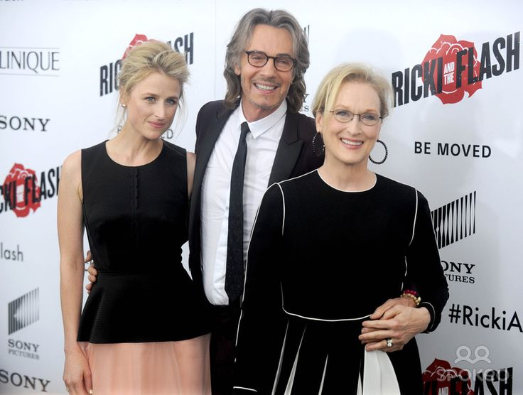 """8/3/15 Marnie Gummer, Rick Springfield and Meryl Streep at the premiere of """"Ricki and The Flash"""". (NYC)"""