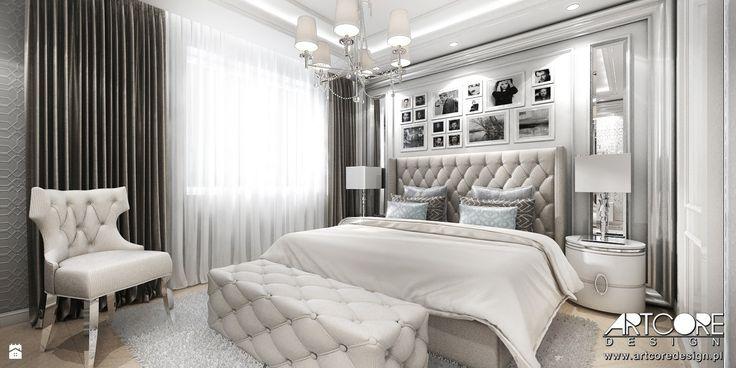 Projekt wnętrza jasnej sypialni w stylu glamour - zdjęcie od ArtCore Design - Sypialnia - Styl Glamour - ArtCore Design