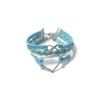 verspieltes Armband in weiß und türkis mit Herz - Unendlichcharm - Baumwollbänder und Zinklegierung - nickelfrei - größenverstellbar