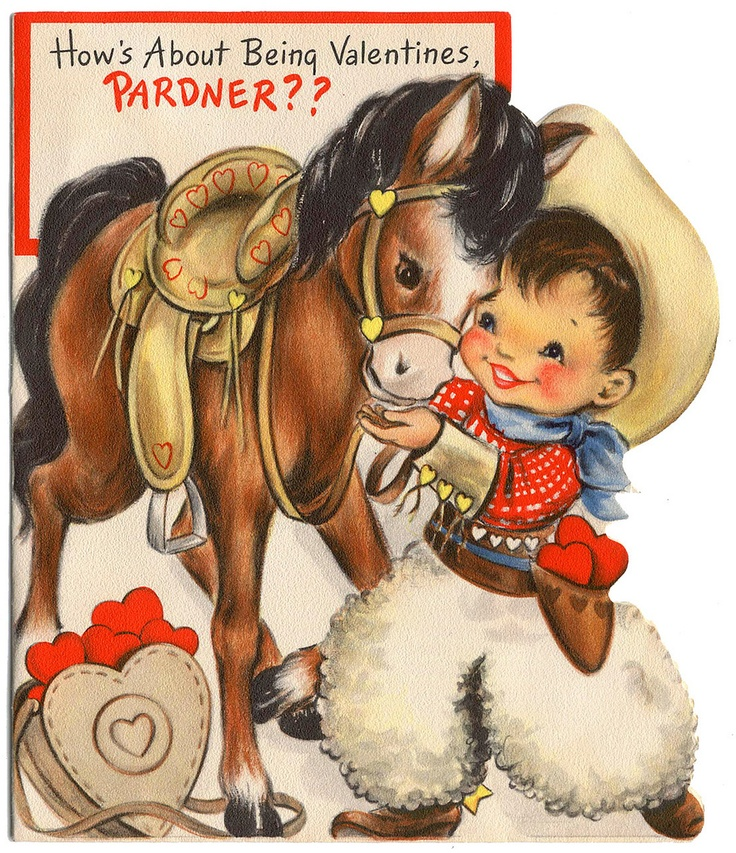 vintage valentine - little cowboy & his pony