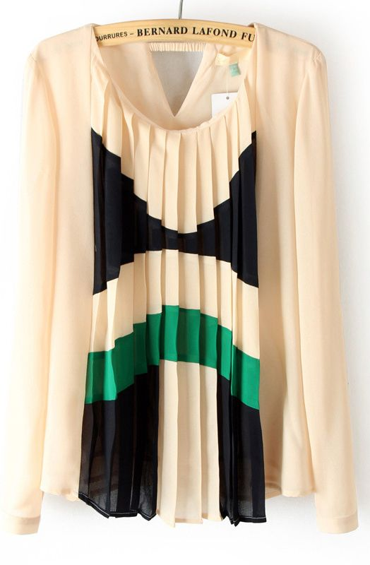 Beige Pleated Front Cut Out Back Chiffon Blouse US$32.37