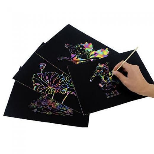 10x Graffiti Writing Paper Black Page Drawing Painting Letter For Kids Gift Diy As Picture No China 19*26cm 10 Sheet