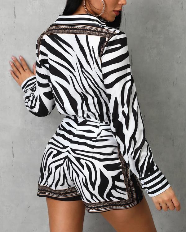 Lässige Arbeitskleidung Langärmlige Tops und Shorts mit Zebradruck  – Jump suit