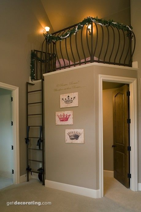 indoor tree house or reading nook with closet beneath...or office beneath definitely need this in mud room for all that extra space laundry room in rest of the area privided