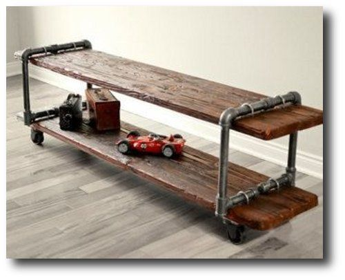 make your own vintage industrial cast iron pipe table tv stand with plumbing parts and old wood. Black Bedroom Furniture Sets. Home Design Ideas