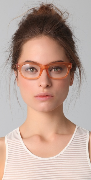 Gema Laswell's 'Geeky Doggy': Peach clear eyeglasses frames by MATTHEW WILLIAMSON