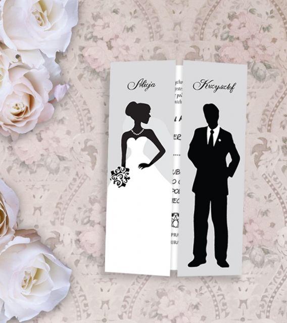 Zaproszenie ślubne czarno-białe wzór 6