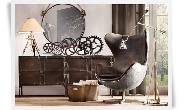Restoration Hardware: Living Rooms, Restoration Hardware, Industrial Interiors, Google Search, Interiors Design, Industrial Chic, Reading Chairs, Interiordesign, Man Caves