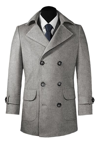 Caban doppiopetto grigio di lana e cashmere