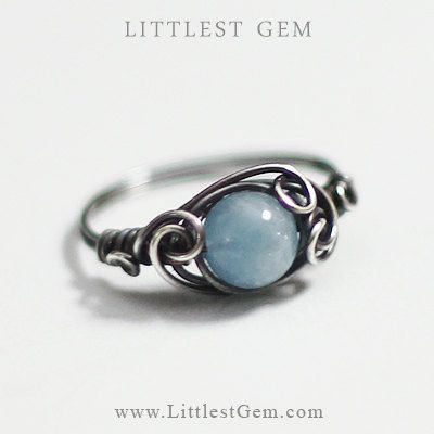 Antiqued Aquamarine Ring, sterling silver ring, wire wrapped ring