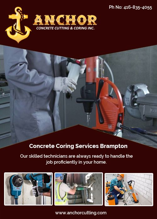 Consult with us for #concrete #coring services in #Brampton because we have #experienced & #professionals worker for these type #construction services. So do not think more, visit at ANCHOR CONCRETE CUTTING & CORING INC. today !! #concretecoringBrampton Give us call Today :- 416-835-4055