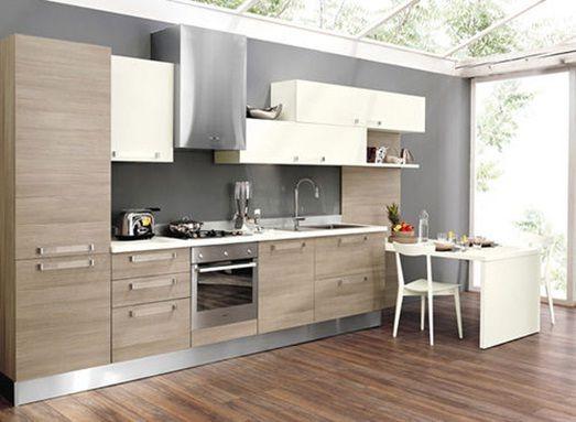 Diseño de cocina pequeña lineal y sobria, fondo en color gris con ...