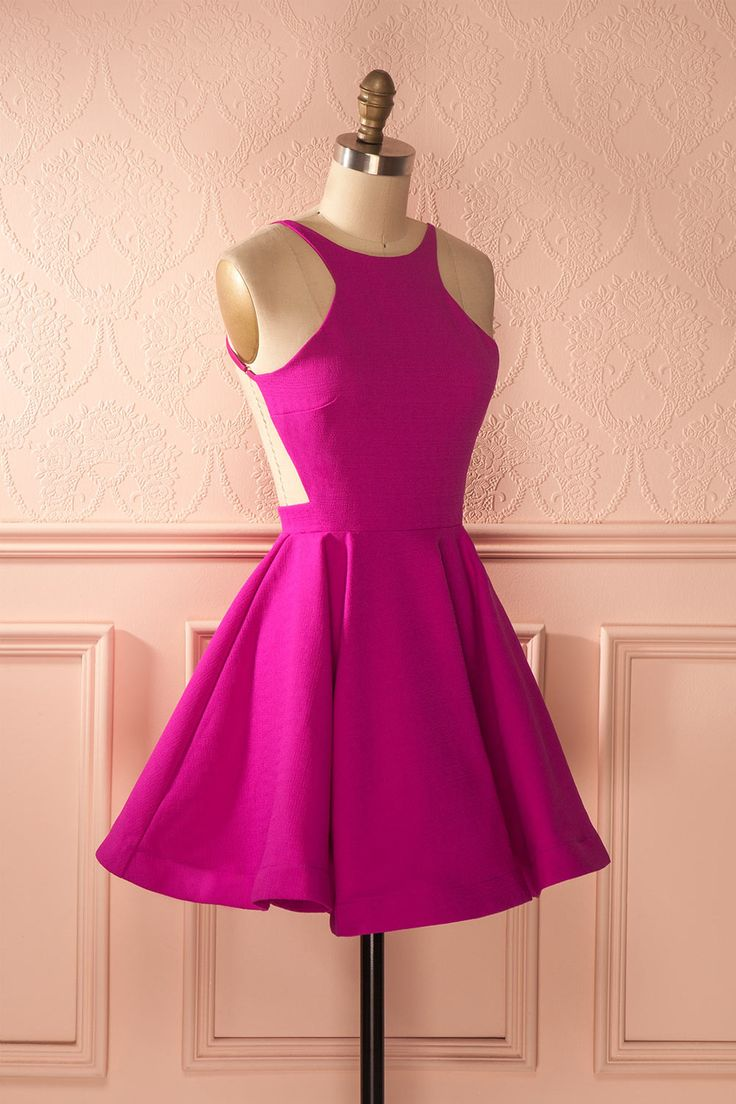 Robe trapèze rose fuchsia dos ouvert - Pink open-back a-line dress