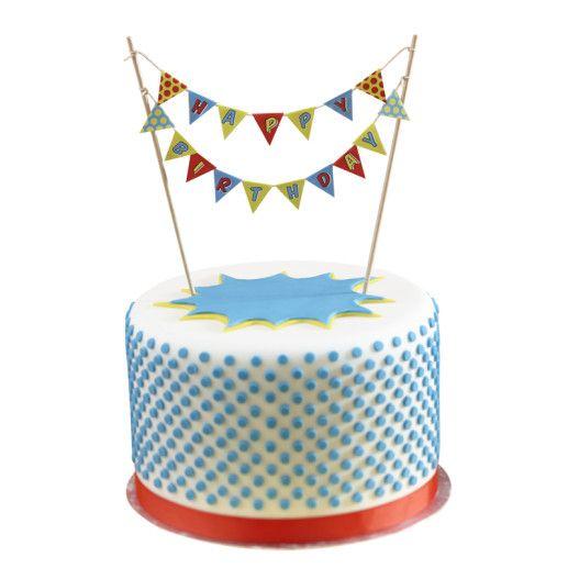 """Kuchengirlande """"Happy Birthday"""" – Pop Art Superhero"""